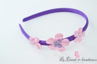 Serre tête trio de fleur violet