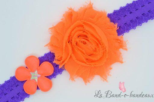 Bandeau fin dentelle duo fleur tissu orange fluo