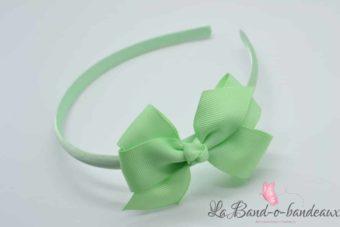 Serre tête vert pâle noeud tissu vert