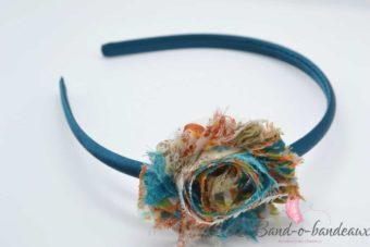 Serre tête émeraude fleur multicolore