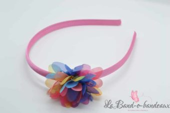Serre tête rose pale, fleur multicolore