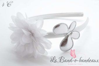 Serre tête blanc fleur irisée