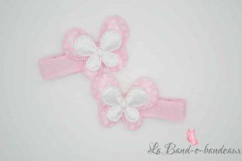 Barrette rose pâle thème double papillon