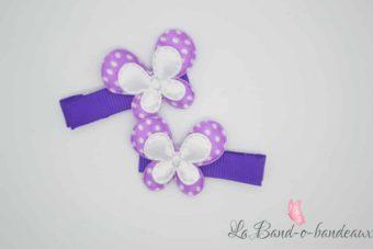 Barrette violette thème double papillon