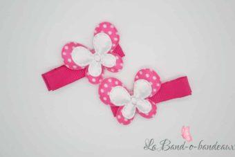 Barrette fuschia thème double papillon