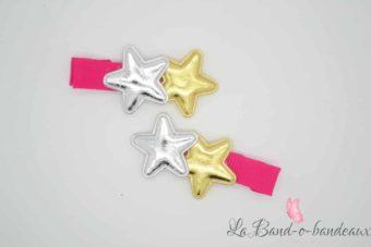 Barrette fuschia thème double étoile brillante