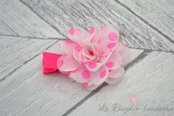 Barrette rose fluo fleur à pois