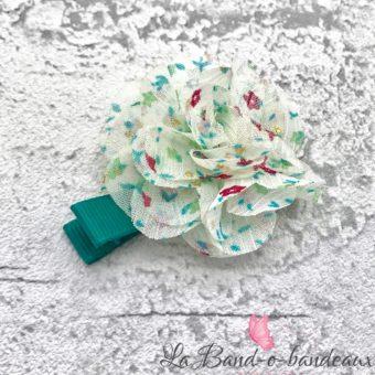 Barrette émeraude fleur imprimée