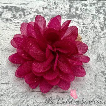 Barrette taupe fleur irisée prune