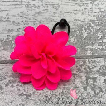 Elastique noir, fleur rose fluo
