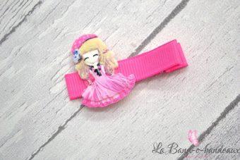 Barrette rose, thème princesse