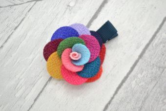 Barrette / Elastique thème fleur chic multicolore