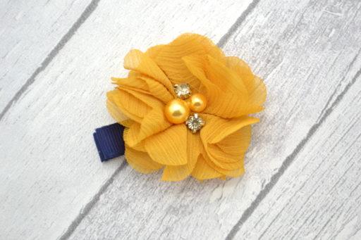 Barrette / Elastique thème fleur à strass moutarde