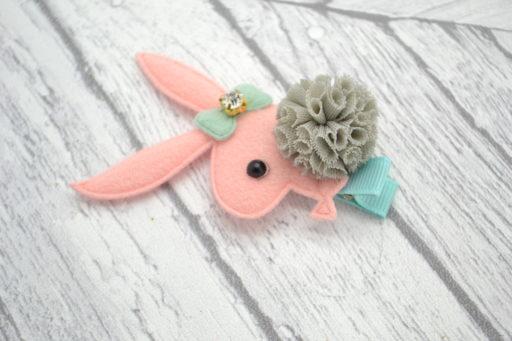 Barrette / Elastique thème lapin rose
