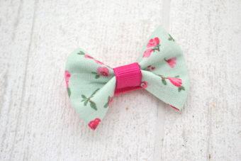 Collection Noël thème noeud tissu fleuri vert d'eau fuchsia