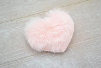 Collection Hiver coeur peluche rose pâle