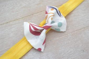 Collection Hiver noeud tissu imprimé moutarde