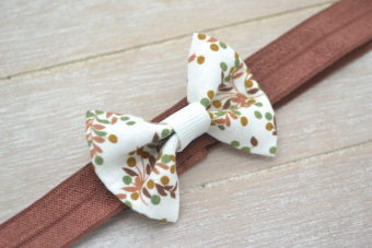 Collection Hiver noeud tissu feuillage marron