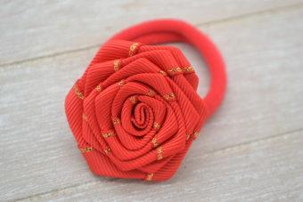 Collection Hiver fleur liseré doré rouge