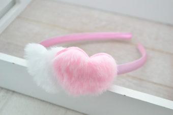 Collection Hiver duo coeur peluche blanc/rose pâle