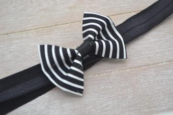Collection Hiver noeud tissu rayé noir