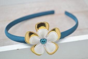 Collection Hiver double fleur dorée coeur émeraude