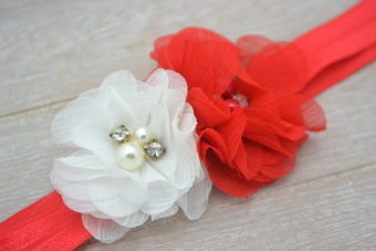 Collection Hiver duo fleurs à strass blanche/rouge