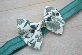 Collection Hiver noeud tissu fleuri vert