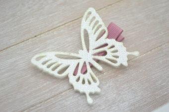 Collection Hiver grand papillon pailleté blanc cassé