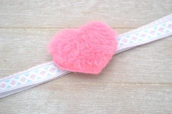 Collection Hiver coeur peluche rose bonbon