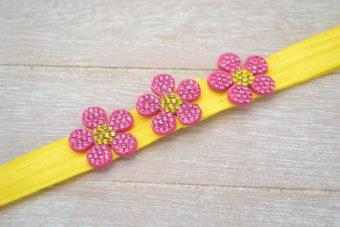 Collection Hiver trio petites fleurs strass fuschia jaune