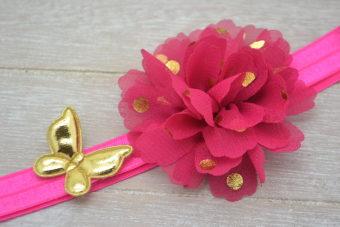 Collection Hiver fleur à pois fuschia papillon doré