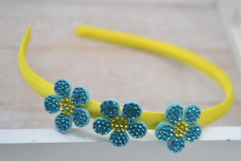 Collection Hiver noeud simili fleuri marron fuschia