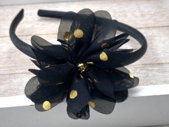 Collection Hiver fleur noire à pois dorés perle dorée