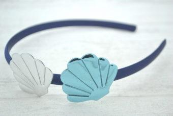 Collection Eté duo coquillages miroir argent bleu
