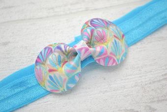 Collection Eté noeud simili imprimé turquoise