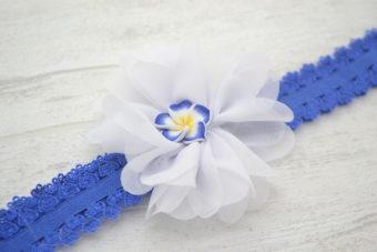 Collection Eté fleur blanche frangipanier 2cm bleu nuit/jaune