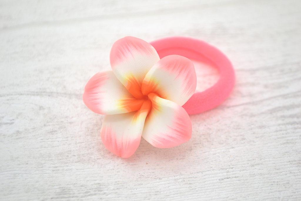 Collection Eté fleur frangipane 4cm bonbon/orange