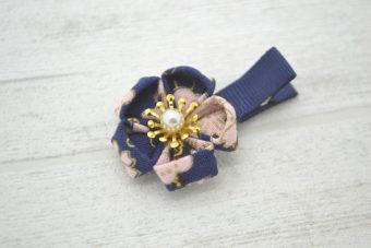 Collection Rentrée Fleur pétales marine/rose pâle