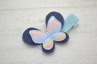 Collection Rentrée Double papillon rayures bleu