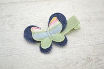 Collection Rentrée Double papillon rayures vert