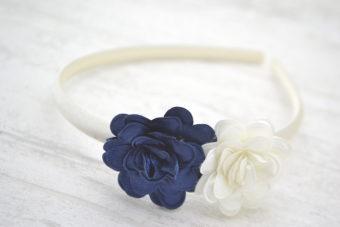 Collection Rentrée Duo fleurs satinées marine ivoire