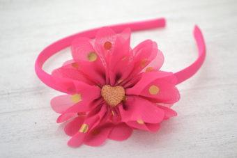 Collection Rentrée Fleur à pois fuschia centre coeur