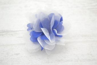 Collection RentréeFleur organza bicolore bleu nuit